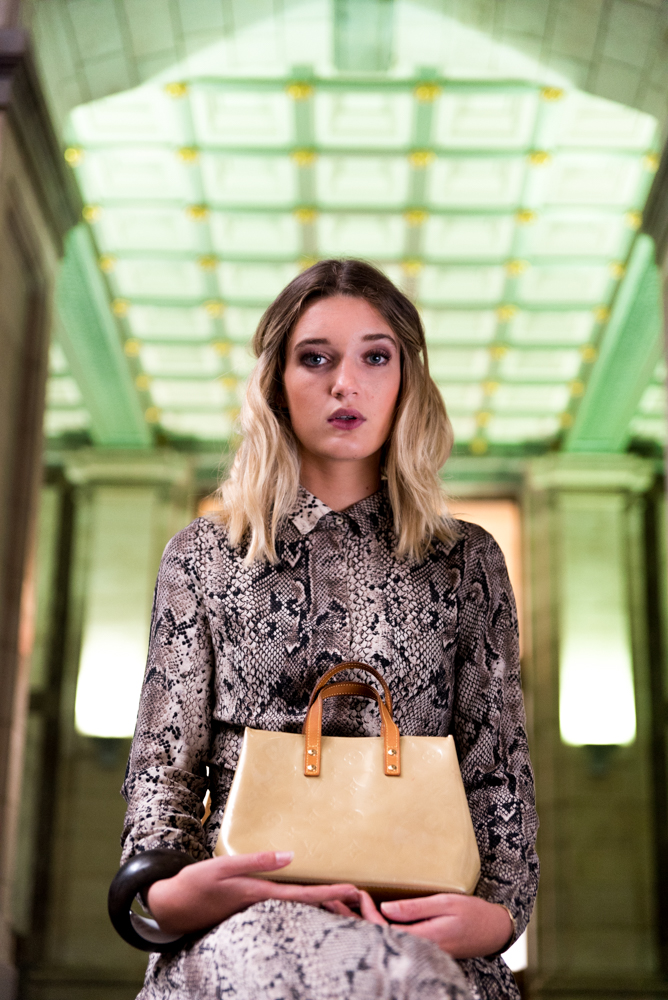 portrait with handbag
